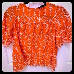 Zara red/ orange eyelet top with white embroidery